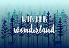 Blue winter forest, vector Royalty Free Stock Images