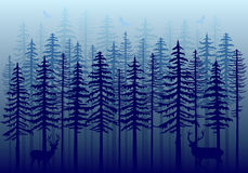 Blue winter forest, vector Royalty Free Stock Photos