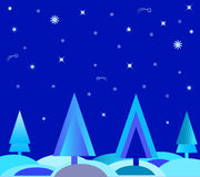 Blue Winter Holidays Card Illustartion. Blue Christmas trees winter holidays card, white stars, blue stars, falling stars, blue trees, winter scenery Stock Photography