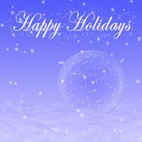Blue winter holidays greeting card with Christmas decorations Stock Photos