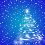 Blue winter holidays greeting card with Christmas tree Royalty Free Stock Image