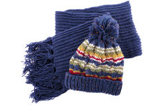 Blue winter knit hat and scarf isolated on white background Stock Photography
