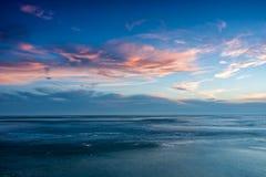Blue winter landscape over the lake Balaton Stock Images
