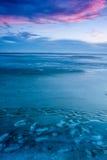 Blue winter landscape over the lake Balaton Royalty Free Stock Images