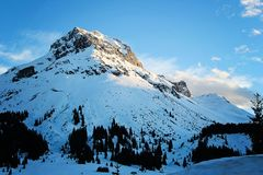 Blue Winter Mountain in Lech, Austria. In the Alps stock photo