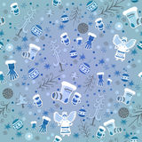 Blue Winter pattern with angels and gloves Stock Photos