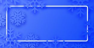 Blue winter poster with white frame and snowflakes. royalty free stock images
