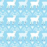 Blue winter reindeer folk vector seamless pattern. Great for winter holidays traditional wallpaper, backgrounds, gifts, packaging design projects. Surface royalty free illustration