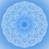 Blue winter round lace background Royalty Free Stock Images