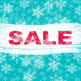 Blue winter sale with snowflake background Stock Image