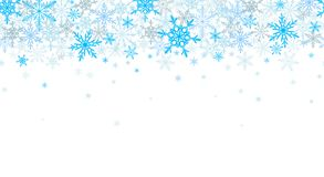 Blue winter seamless background with flying snowflakes royalty free stock photos