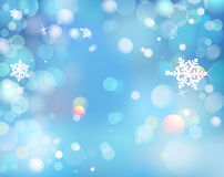 Blue Winter Shining Bokeh Background With Snowflakes. Vector. Stock Photography
