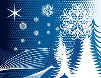 Blue Winter Tree Snow Design Royalty Free Stock Image