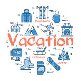 Blue Winter Vacation Concept. Vector linear blue round concept of Winter Vacation. Line icons of sport activity, rest with family, camera, clothing and mountain Royalty Free Stock Photography