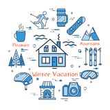 Blue Winter Vacation in Mountains Concept. Vector linear blue round concept of Winter Vacation in Mountains. Line icons of Forest House, ski, equipment and Royalty Free Stock Images