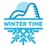 Blue wintertime sticker. Cold mountains. Winter, christmas, new year. Vector line Illustration. Web banners, advertisements, brochures, business templates  on Royalty Free Stock Photos