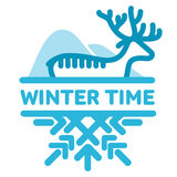 Blue wintertime sticker. Deer, mountains. Winter, christmas, new year. Vector line Illustration. Web banners, advertisements, brochures business templates  on Royalty Free Stock Images