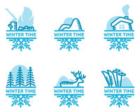 Blue wintertime sticker. Fire, mountains, hut, skiing, deer, pine forest. Winter, christmas, new year. Vector line Illustration Web banners advertisements Stock Photos