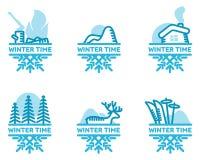 Blue wintertime sticker Stock Photos