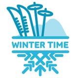 Blue wintertime sticker Stock Photography