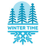 Blue wintertime sticker. Pine forest. Winter, christmas, new year. Vector line Illustration. Web banners, advertisements, brochures, business templates  on a Royalty Free Stock Photos