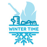 Blue wintertime sticker. The smoking fire. Winter, christmas, new year. Vector line Illustration. Web banners, advertisements, brochures, business templates Stock Image