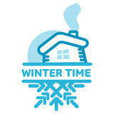 Blue wintertime sticker. Snow-covered hut. Winter, christmas, new year. Vector line Illustration. Web banners, advertisements, brochures, business templates Stock Photo