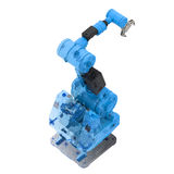 Blue wireframe robotic arm Stock Image