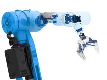 Blue wireframe robotic arm. 3d rendering blue wireframe robotic arm on white background Stock Photography