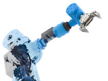 Blue wireframe robotic arm Royalty Free Stock Photos