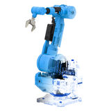 Blue wireframe robotic arm Royalty Free Stock Image