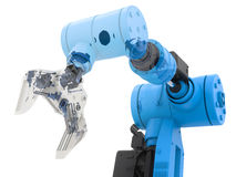 Blue wireframe robotic arm Royalty Free Stock Images