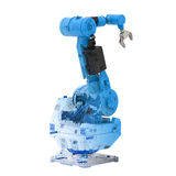 Blue wireframe robotic arm. 3d rendering blue wireframe robotic arm on white background Royalty Free Stock Photography