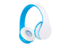 Blue wireless headphones on white Royalty Free Stock Photos