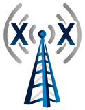 Blue wireless technology tower with no signal Stock Images
