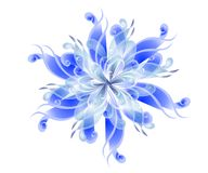 Blue Wispy Flower Blossoms. A clip art illustration of soft, feminine, wispy flower blossoms in blue and white gradient colors isolated on white background Royalty Free Stock Images
