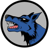 Blue Wolf Logo. Blue bad wolf howling at the moon Royalty Free Stock Images