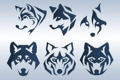 Blue wolf logo. Illustration of dark blue wolf head logo on blue background royalty free illustration