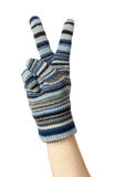 Blue wollen knitted mitten Royalty Free Stock Photos