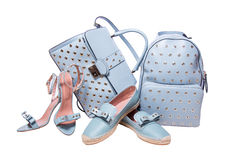 Blue woman bags and shoes Royalty Free Stock Photography