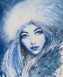 Blue woman depicted winter royalty free stock photo