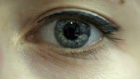 Blue woman eye stock video footage