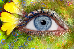 Blue woman eye makeup spring flowers metaphor. Colorful fantasy meadow Royalty Free Stock Images
