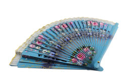 Blue woman Hand fan Stock Images
