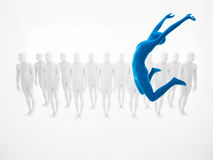 Blue woman jumps high Royalty Free Stock Photo