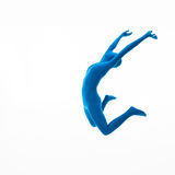 Blue woman jumps high Stock Images