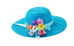 Blue woman`s hat summer accessories Royalty Free Stock Photography