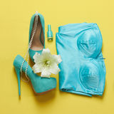 Blue woman shoes with underwear and flower Stock Images