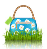 Blue woman spring bag with chamomiles flowers and sale label in Royalty Free Stock Photography