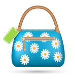Blue woman spring bag with chamomiles flowers and sale label iso Royalty Free Stock Photos